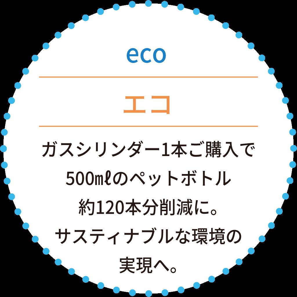 ガスシリンダー1本ご購入で500㎖のペットボトル約120本分削減に。サスティナブルな環境の実現へ。