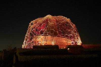 六甲山の光のアートが秋バージョンに