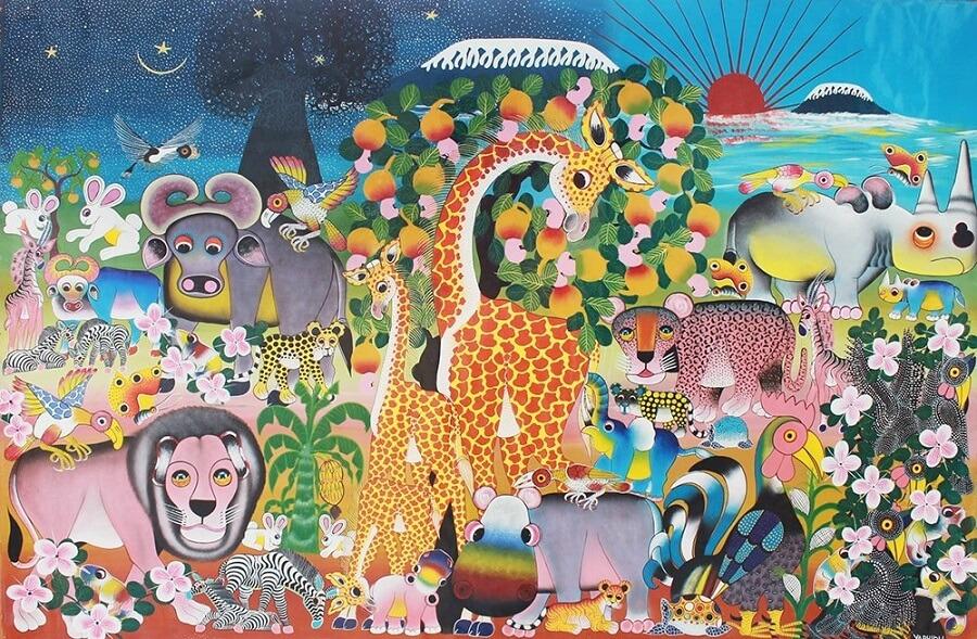 ビビッドな色合いで観る者を魅了するアフリカンアートを六甲山で